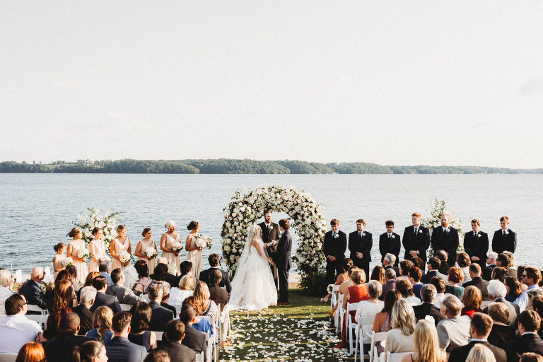 wedding ceremony at sunset on the river